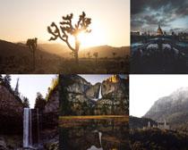 山水瀑布風景攝影高清圖片