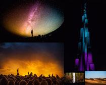 夜色星空美景拍攝高清圖片
