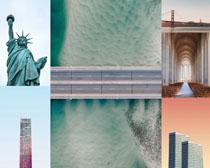 塑像大廈建筑景觀攝影高清圖片