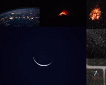 星空地球火烙景觀攝影高清圖片