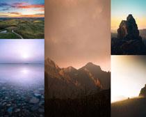 云霧下的山峰攝影高清圖片