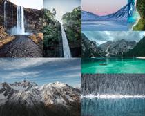 瀑布湖水山峰攝影高清圖片