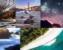 大海星空橋梁風景拍攝高清圖片