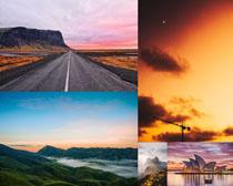夕陽下的美麗景觀攝影高清圖片