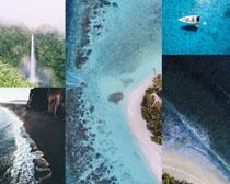 海邊瀑布美麗風光拍攝高清圖片