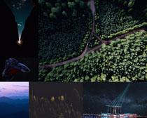 森林道路與風景拍攝高清圖片