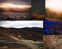 城市與草原風光拍攝高清圖片