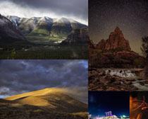 黑夜山川風景拍攝高清圖片