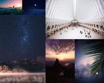 美麗星空夜景拍攝高清圖片