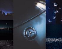 夜空星空奔馳標志攝影高清圖片