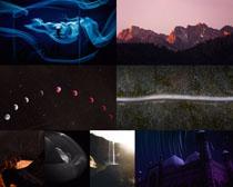 山川美麗瀑布風光攝影高清圖片
