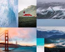 大海橋梁山峰景色拍攝高清圖片
