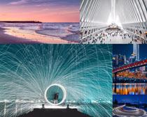 夜景橋梁大海展廳攝影高清圖片
