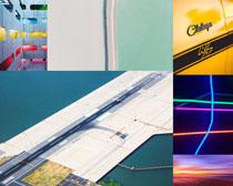 飛機跑道建筑攝影高清圖片