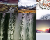 雪景瀑布風光拍攝高清圖片