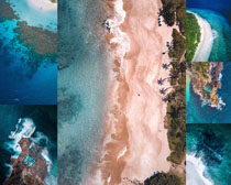 美麗的海島灣風景拍攝高清圖片