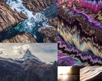 海浪巖石山峰景色攝影高清圖片