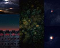 夜色月亮星空風景攝影高清圖片