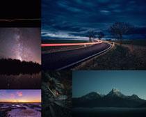 夜晚星空道路景色攝影高清圖片