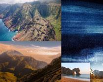 海邊高山風景拍攝高清圖片