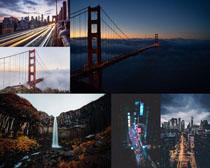 橋梁城市瀑布風光拍攝高清圖片