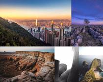 城市高山海島風景拍攝高清圖片