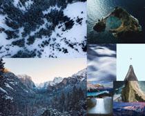 高山雪景海邊攝影高清圖片