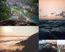 高山云層大海風景拍攝高清圖片