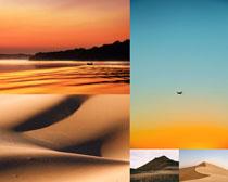 唯美沙漠湖泊風景拍攝高清圖片