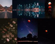 黑夜美麗的月亮星空拍攝高清圖片