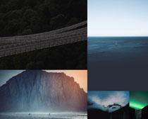 山峰云層橋風景攝影高清圖片