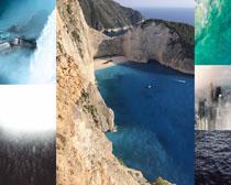 大海山峰樹林風景拍攝高清圖片
