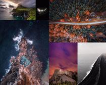 大海石巖樹林風景拍攝高清圖片