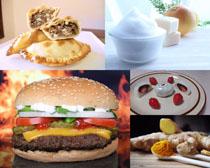 漢堡包早餐甜品攝影高清圖片