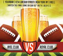 啤酒与橄榄球海报PSD素材