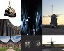 教堂風車建筑攝影高清圖片