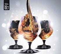 香槟酒派对海报PSD素材