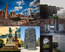 建筑塑像與廢舊工廠攝影高清圖片