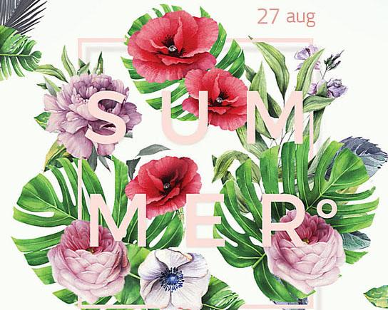 夏季花朵宣传海报PSD素材