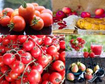 西红柿草莓梨子水果摄影高清图片
