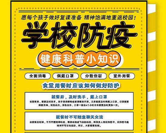 学校防护防疫知识宣传海报PSD素材