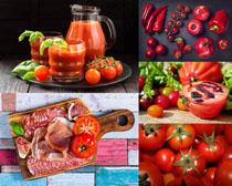 西红柿果汁牛排摄影高清图片