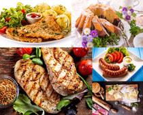 烤肉鱼丸香肠美食摄影高清图片