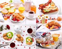 早餐牛角面包果汁摄影高清图片