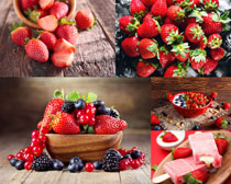 草莓藍莓攝影高清圖片