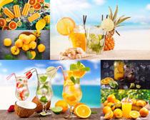 橙子菠蘿果汁攝影高清圖片