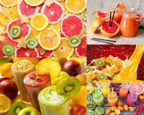 橙子檸檬獼猴桃切片果汁攝影高清圖片