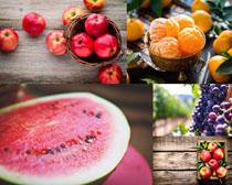 西瓜蘋果桔子攝影高清圖片