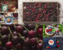 櫻桃藍莓營養水果攝影高清圖片