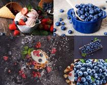 藍莓草莓冰淇淋拍攝高清圖片